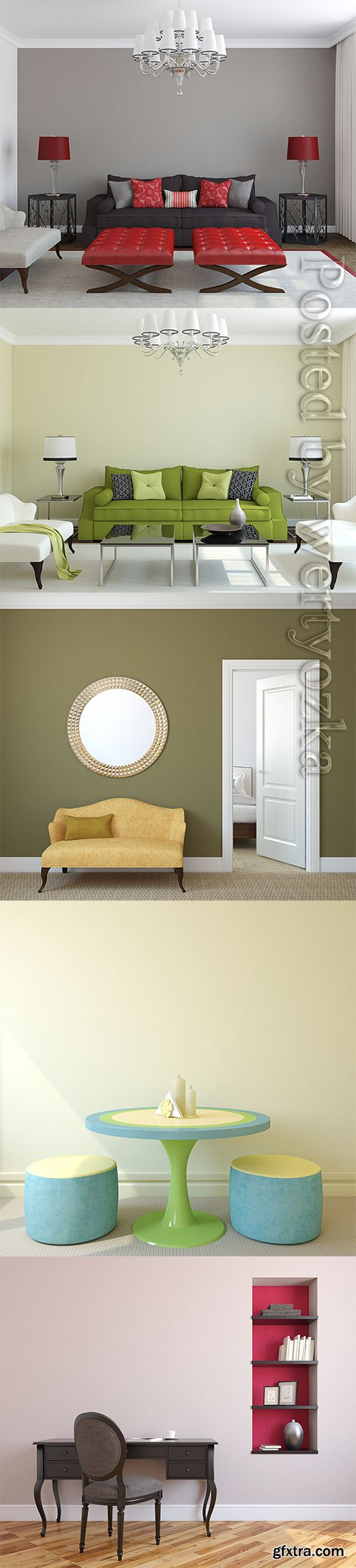 Hallway interior, sofas and armchairs stock photo