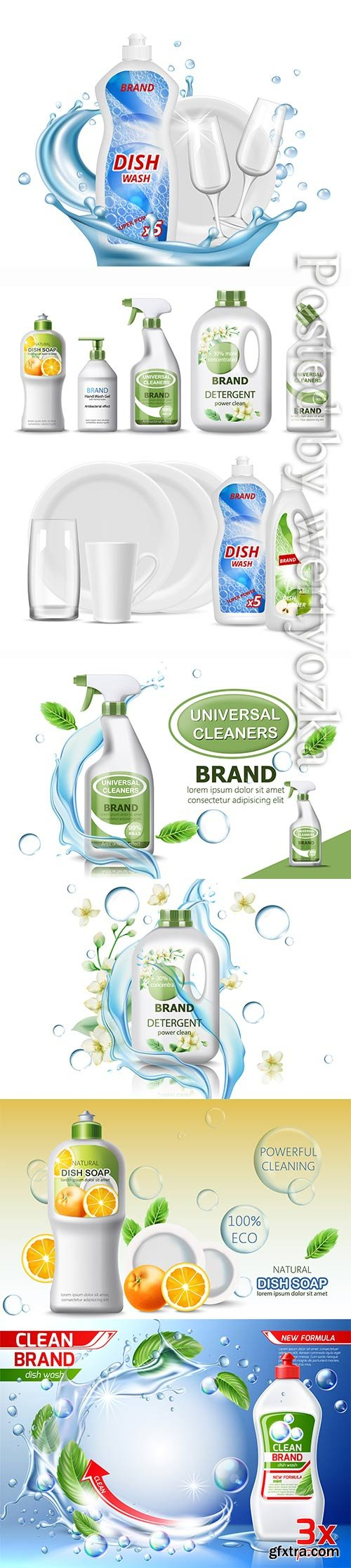 Set of dish soap, hand wash gel, universal cleaner and detergent