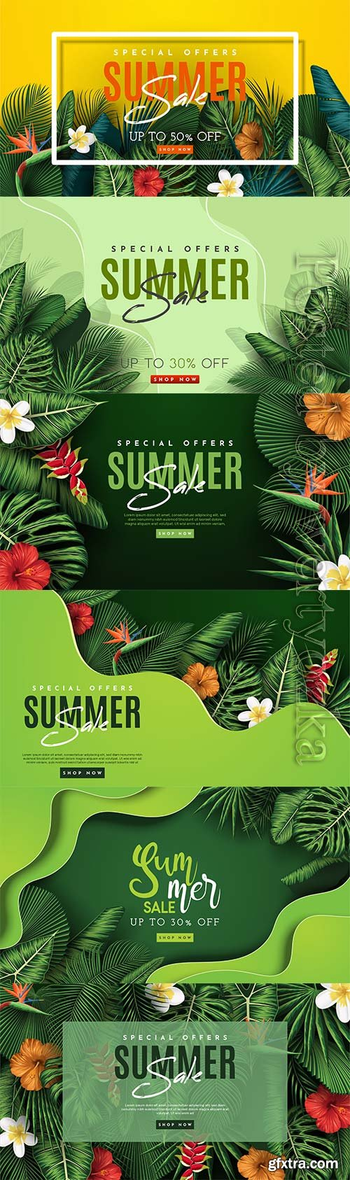 Summer sale vector banner with tropical leaves