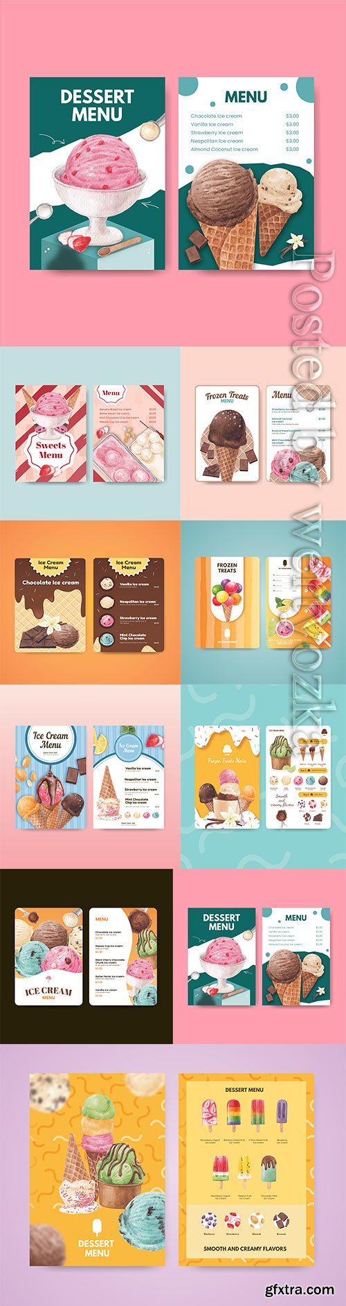 Menu template with ice cream flavor concept, vector watercolor style