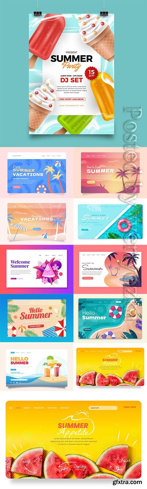 Realistic summer landing page vector template