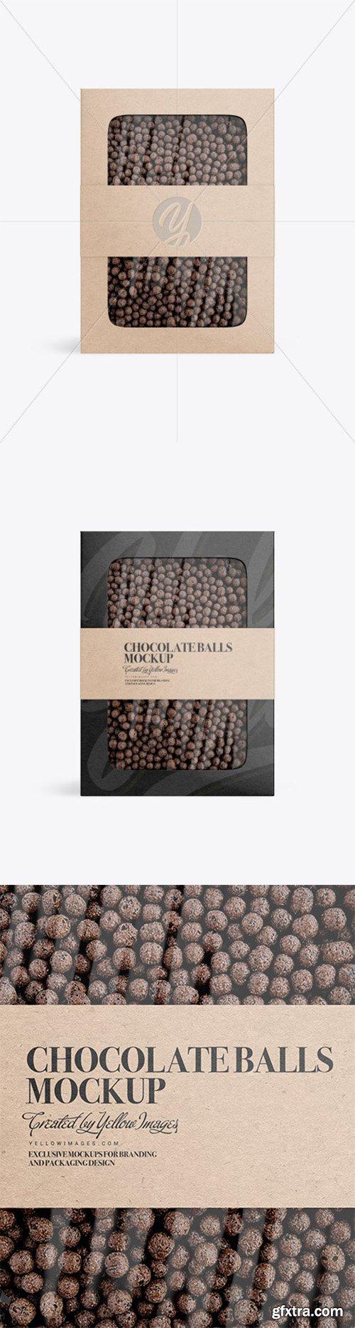 Kraft Paper Box With Chocolate Balls Mockup 80827