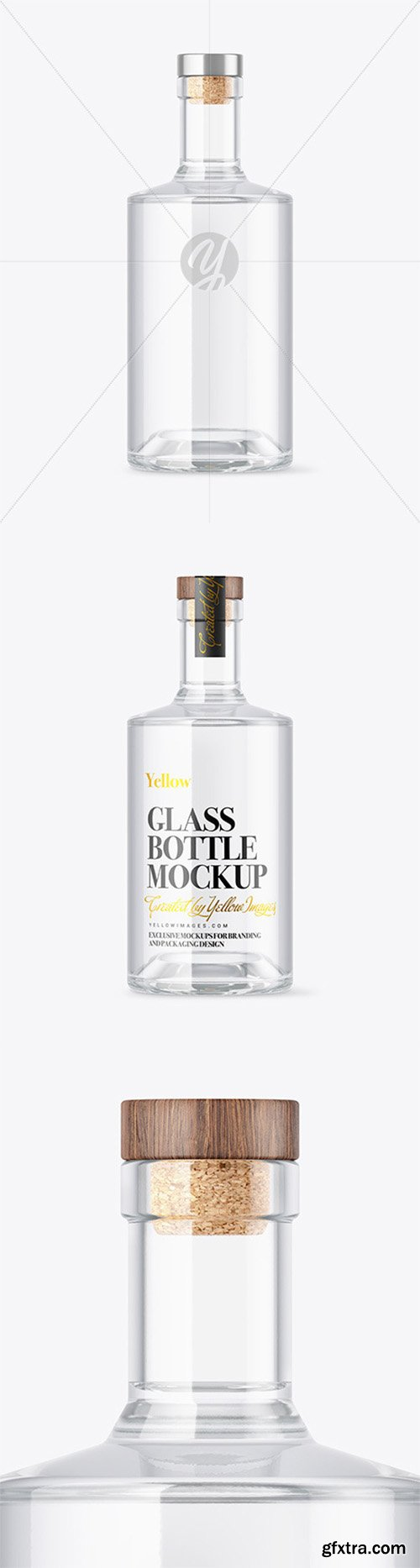 Clear Glass Vodka Bottle with Wooden Cap Mockup 80771