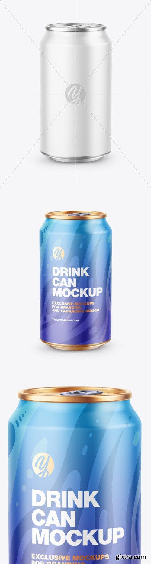 Metallic Drink Can w/ Matte Finish Mockup 80826