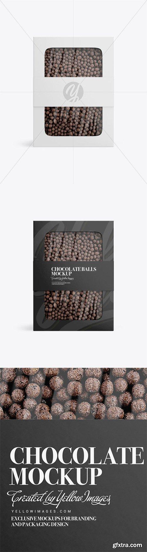 Paper Box With Chocolate Balls Mockup 80823