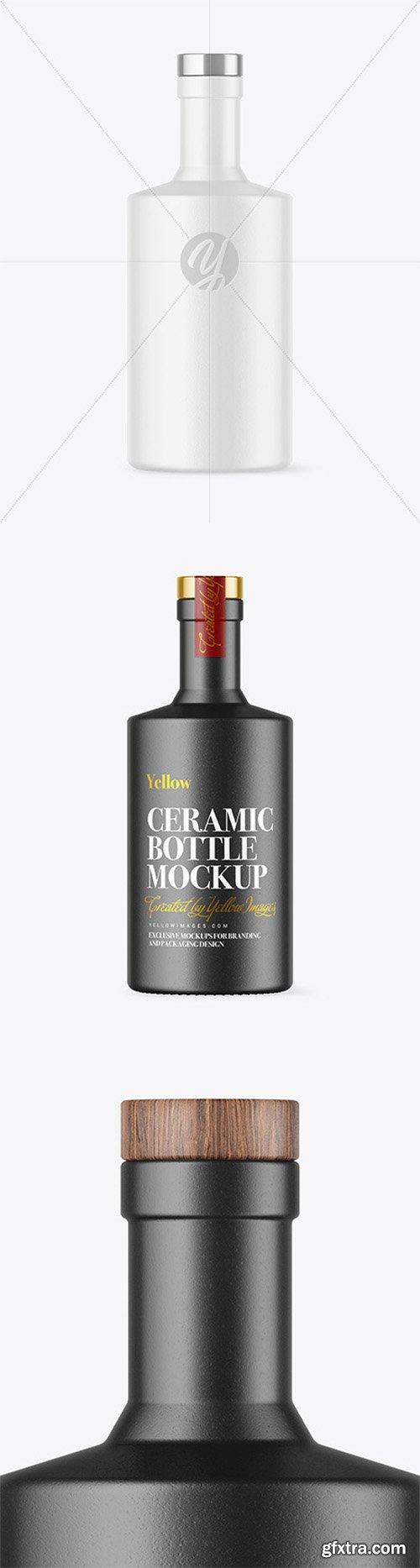 Ceramic Bottle with Wooden Cap Mockup 80770