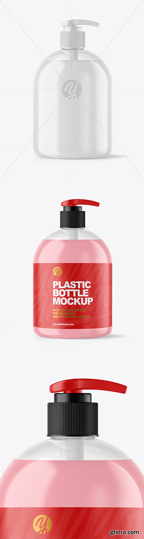 Clear Liquid Soap Bottle with Pump Mockup 62140
