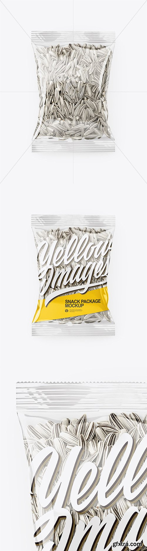 Clear Transparent Plastic Pack with White Sunflower Seeds Mockup - Top View 65863