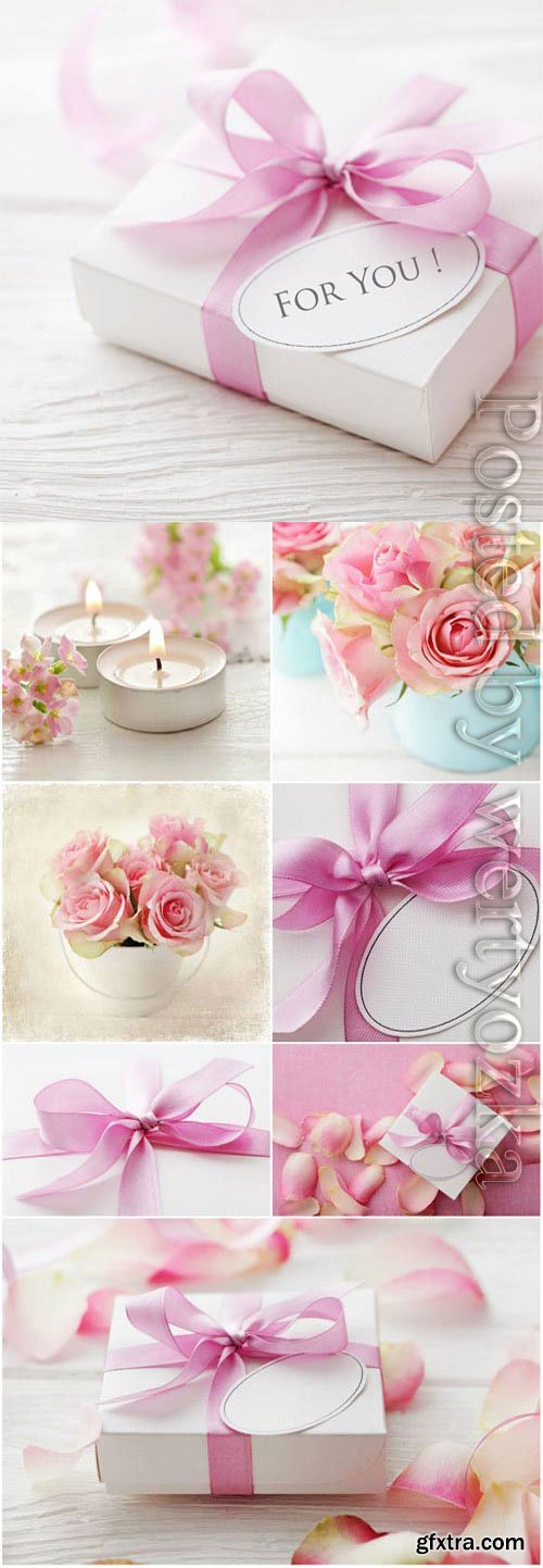 Romantic backgrounds with gift box candles and roses stock photo