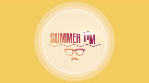 Videohive - Text Summer Time with sun glasses and sea waves - 32698764 - 32698764