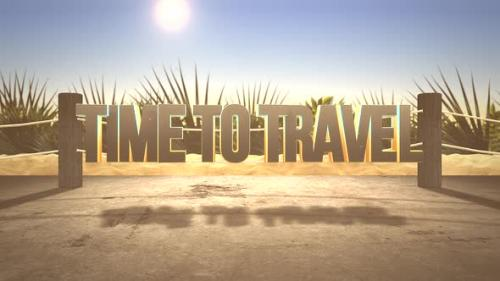 Videohive - Text Time to Travel and closeup sandy beach with sun - 32698896 - 32698896