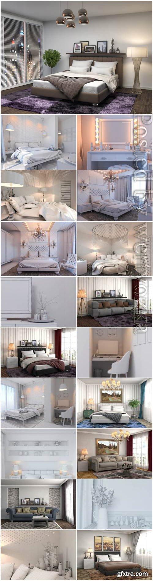 Beautiful bedroom interior stock photo