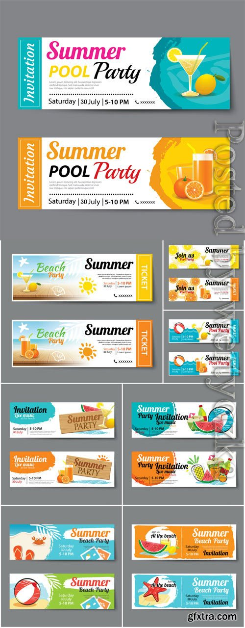 Horizontal banners on the theme of summer in vector