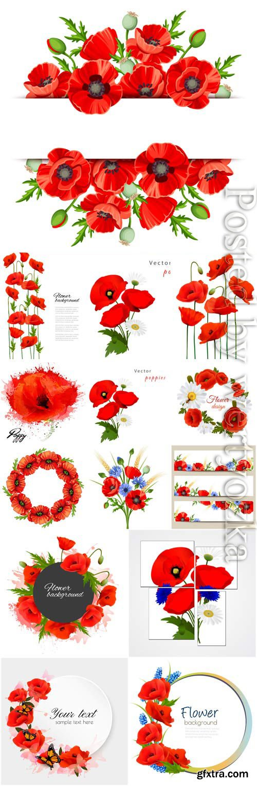 Frames with red poppies in vector