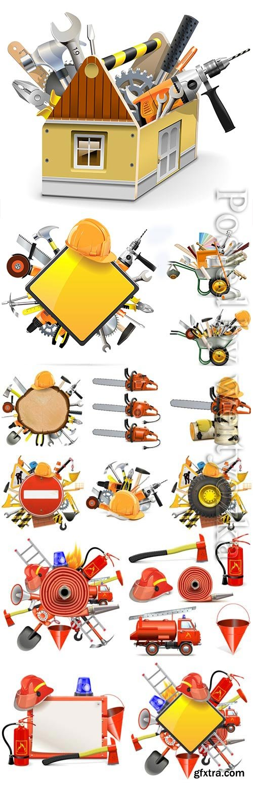 Set of construction tools in vector