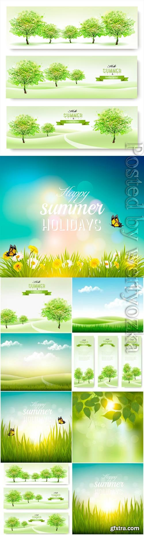 Summer banners and backgrounds with nature in vector