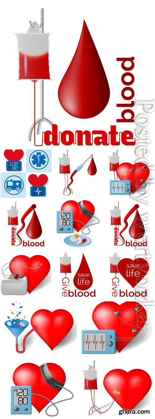 Donation, donation of blood in vector