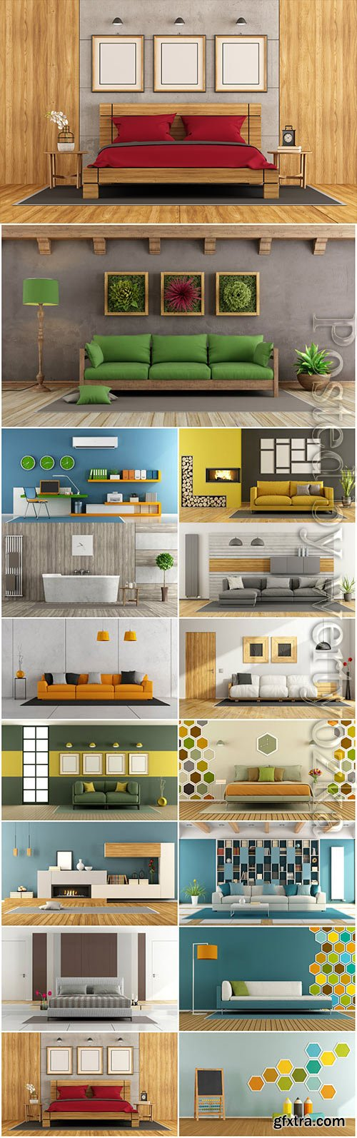 Beautiful sofas, modern interior stock photo