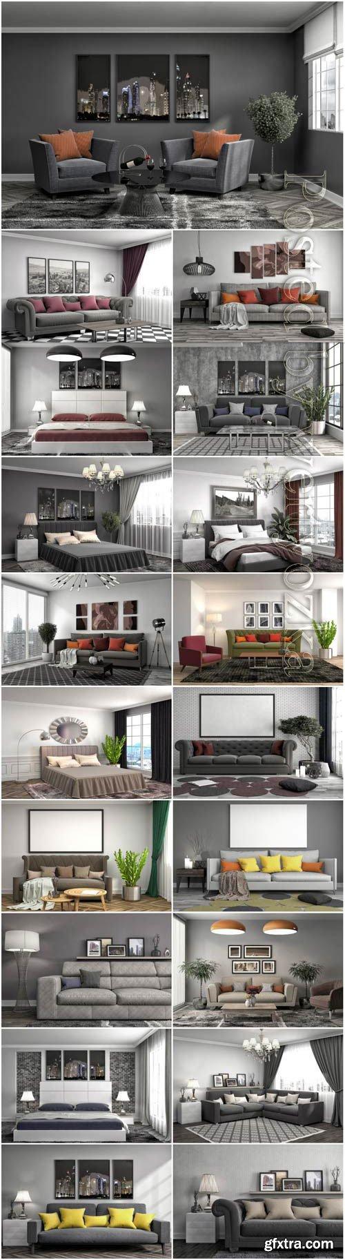 Modern interior in gray tones stock photo