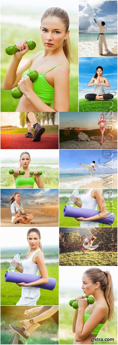 Girls doing sports in nature stock photo