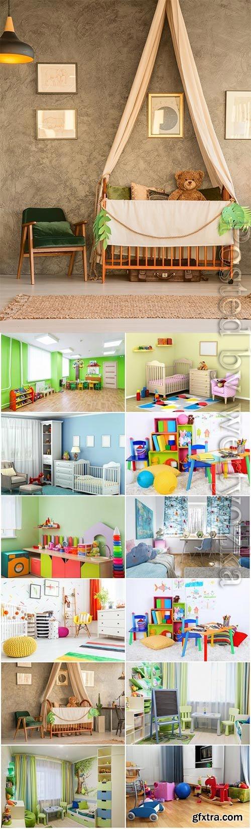 Creative kids room interior stock photo
