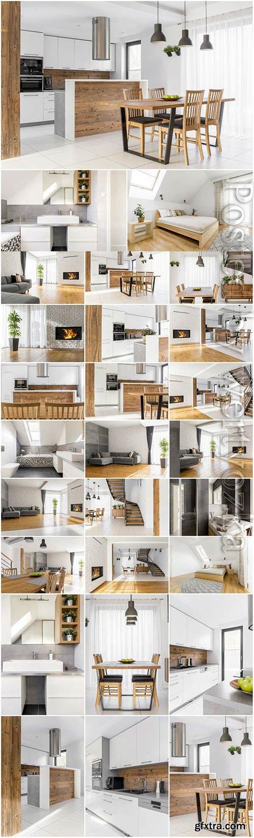 Kitchen and bedroom interior stock photo