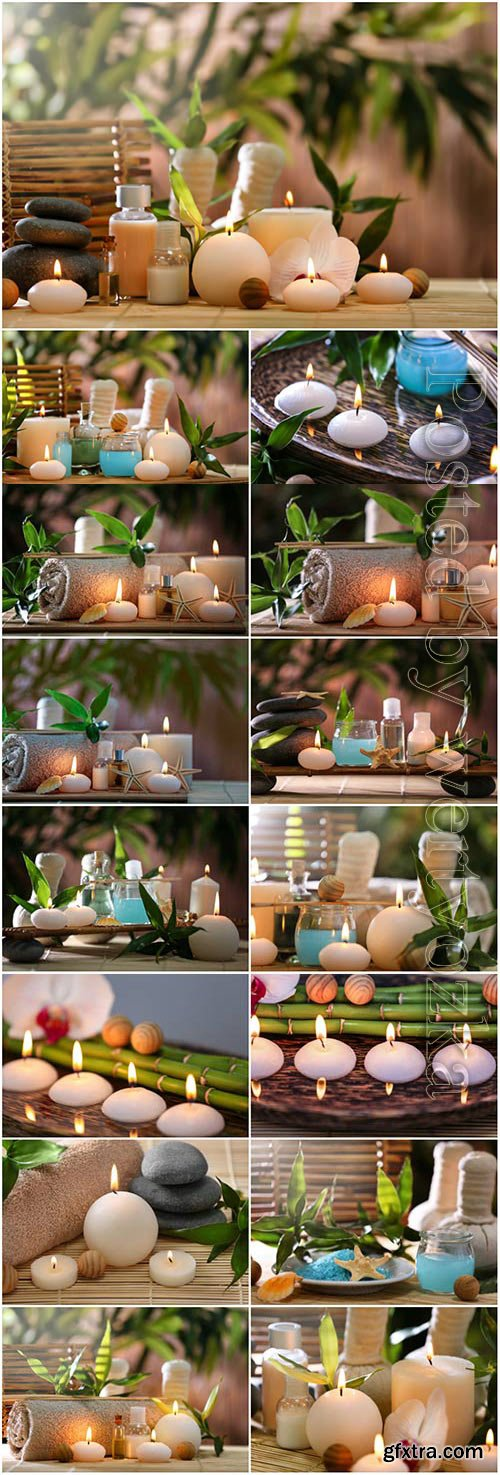 Spa composition with candle stones and bamboo stock photo