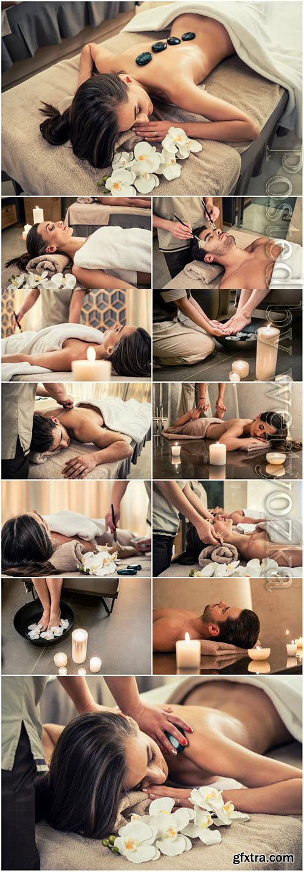 Girl getting massage stock photo