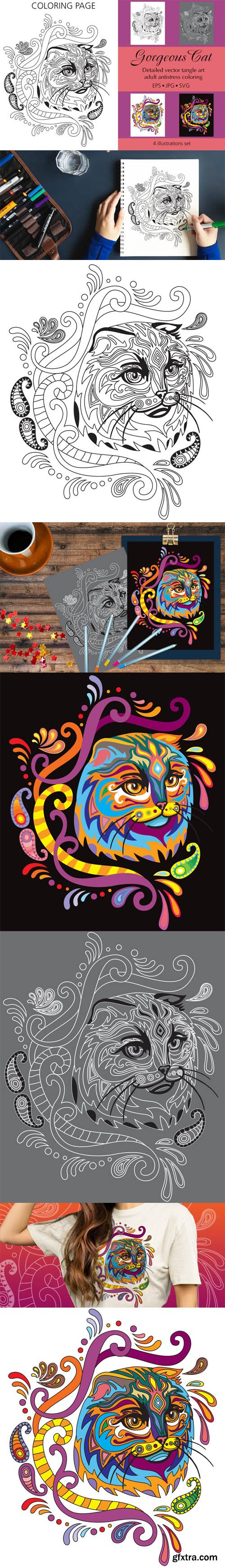 Gorgeous Cat - Detailed Vector Tangle Art - Adult Antistress Coloring