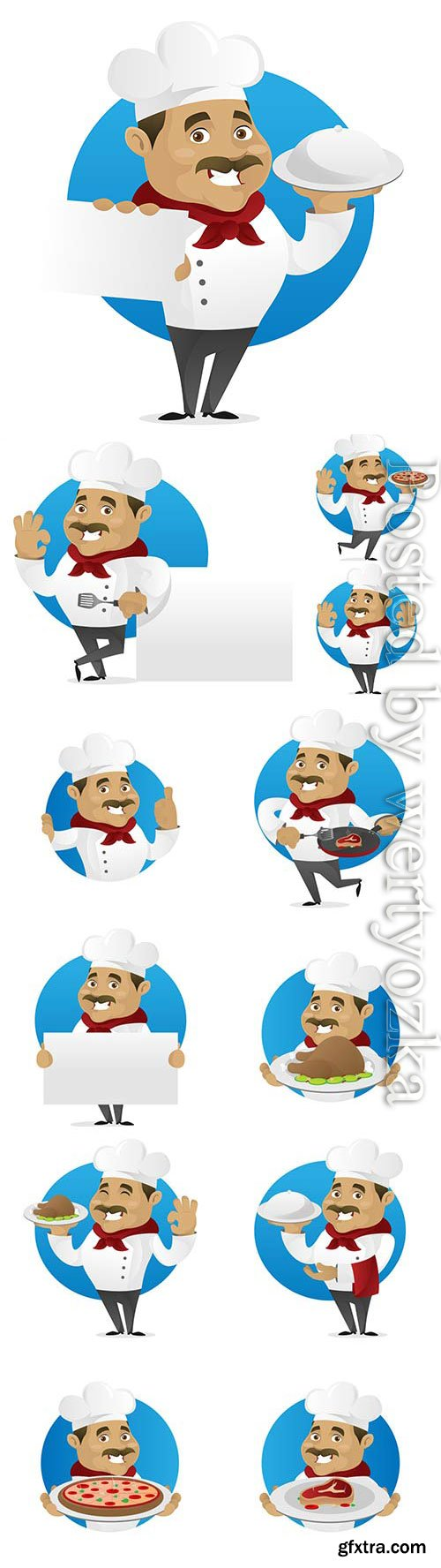 Cartoon chef with a dish in his hands in vector