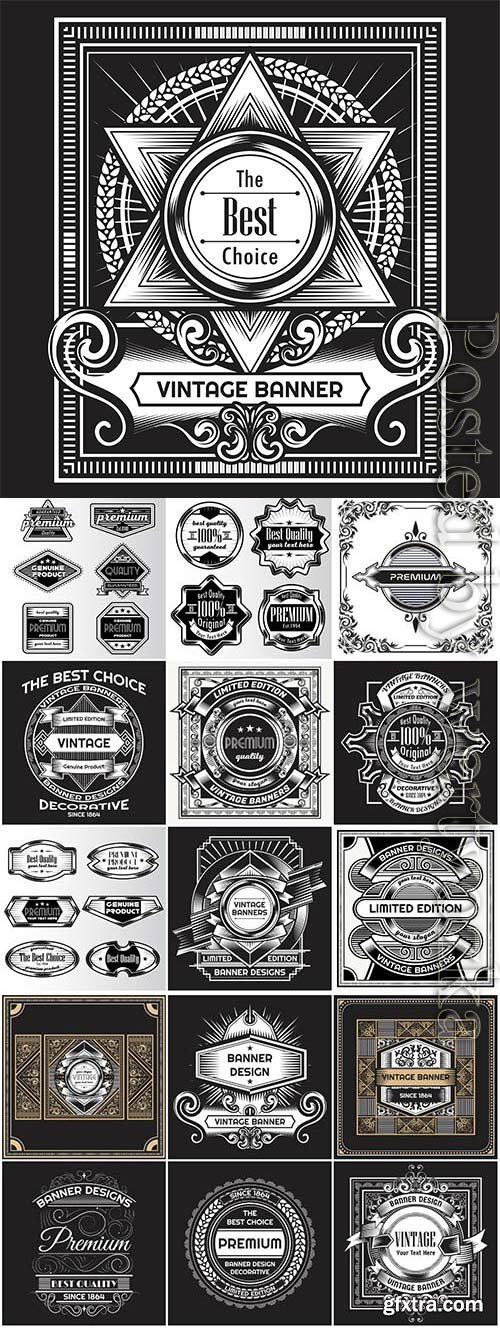 Banners and labels in vintage style in vector