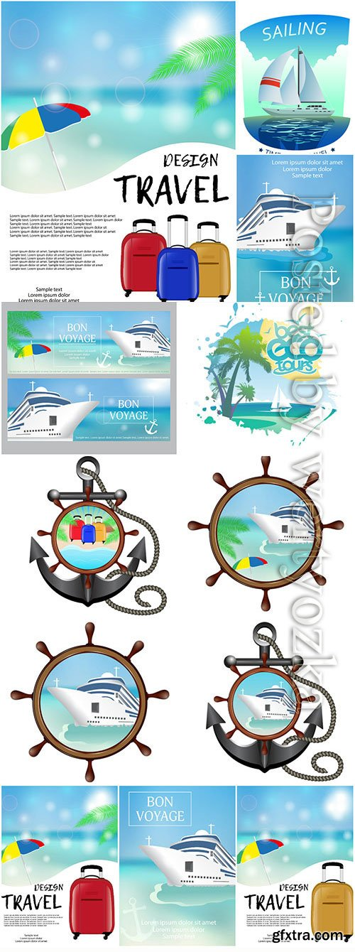 Sea and travel concept in vector