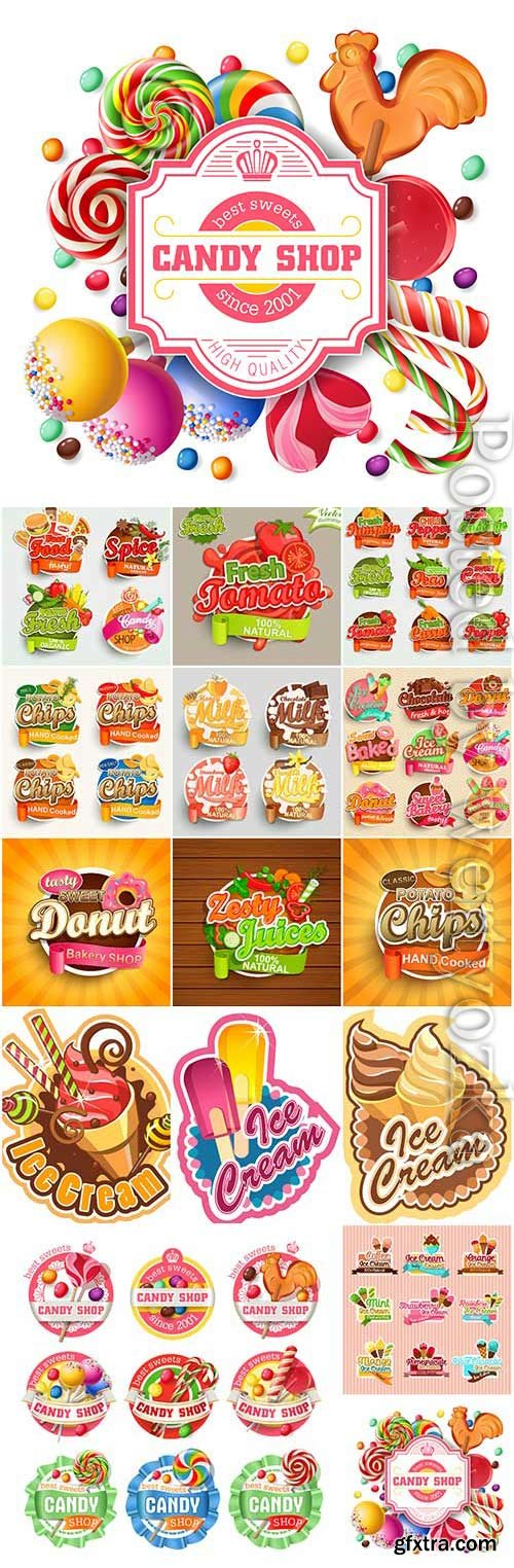 Stickers and labels with ice cream and sweets in vector