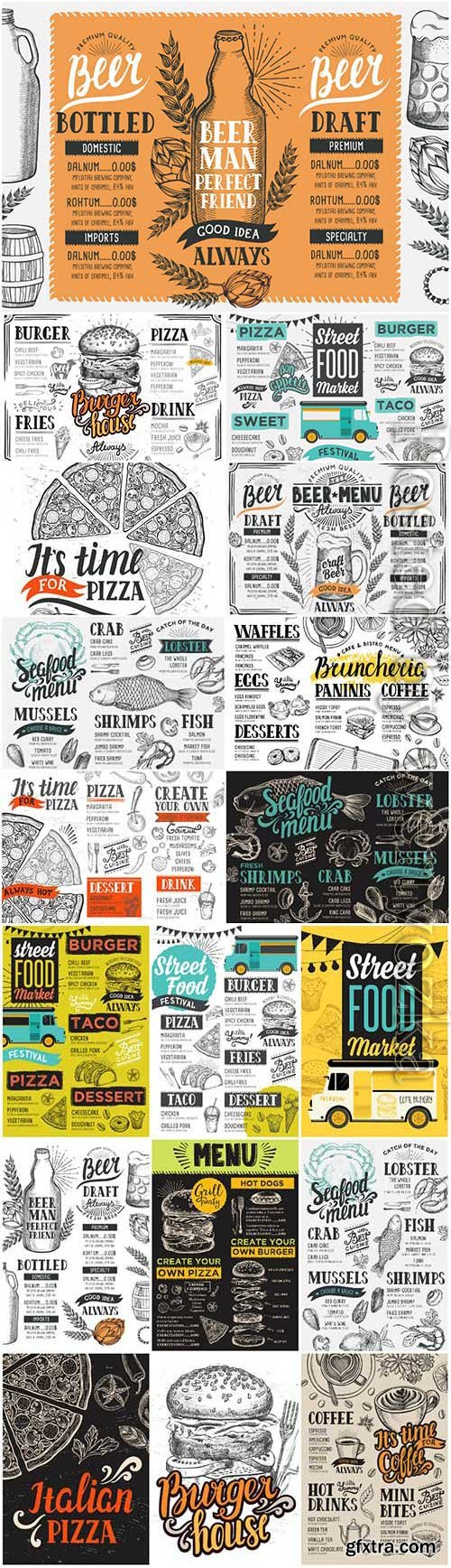 Menu for restaurant and cafe in vector