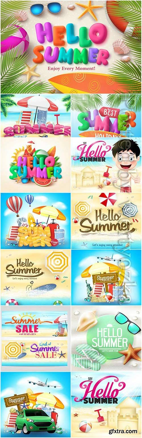 Concept of summer and vacation at sea in vector