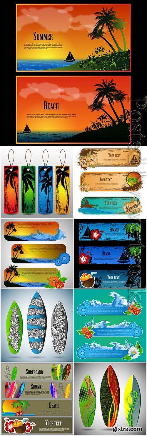 Summer banners and elements in vector