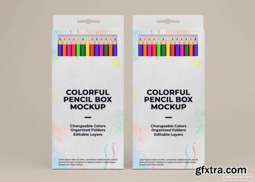 Colorful pencil box mockup