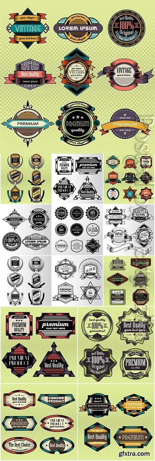 Original retro labels in vector