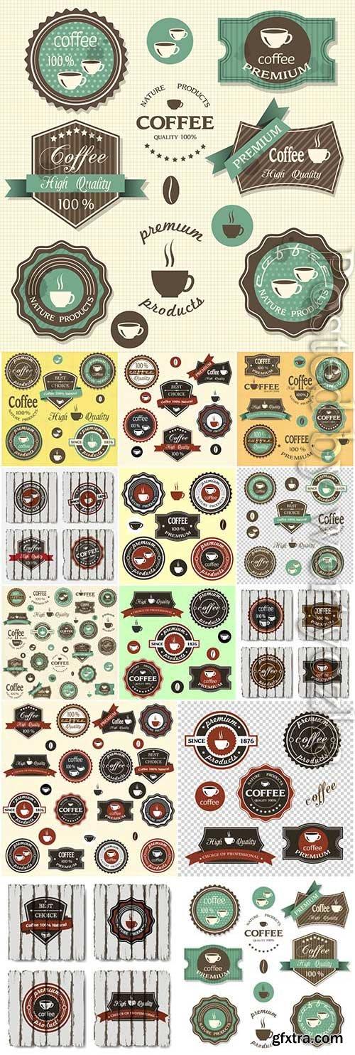 Coffee premium labels in retro style in vector