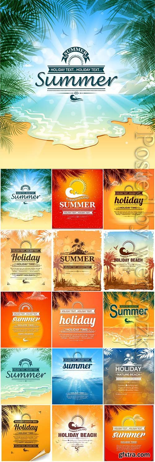 Beautiful summer backgrounds with text in vector