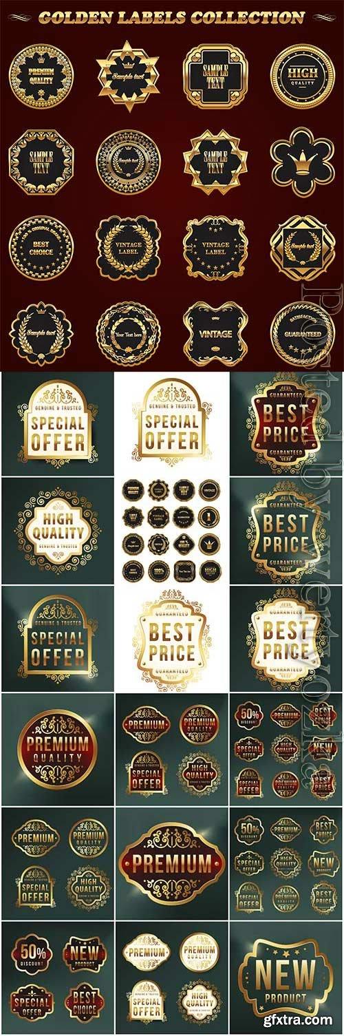 Premium labels with golden design in vector