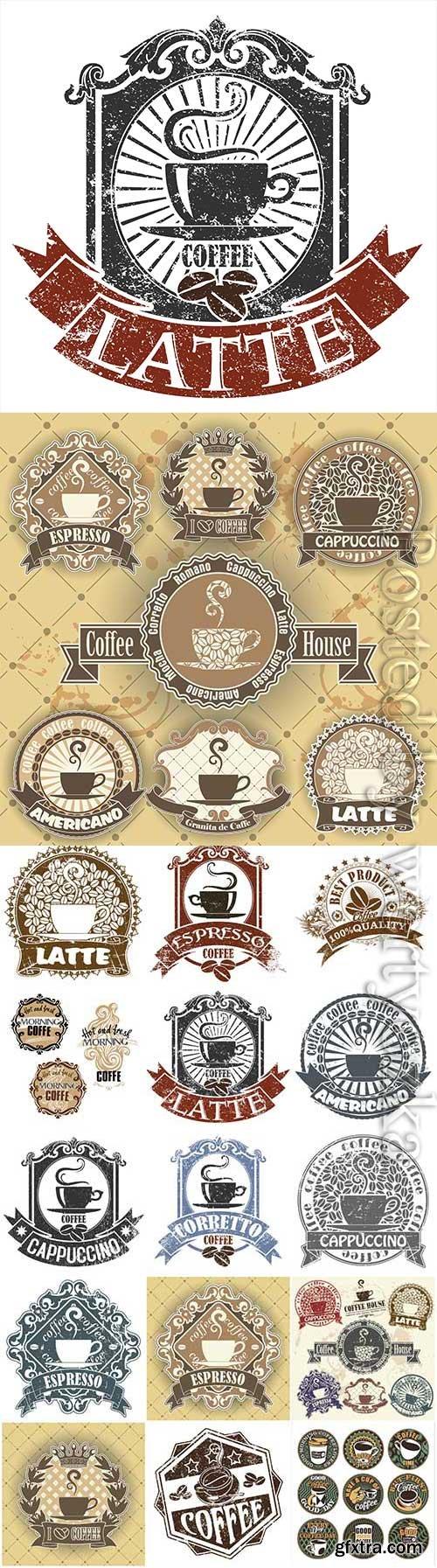 Retro coffee labels in vector