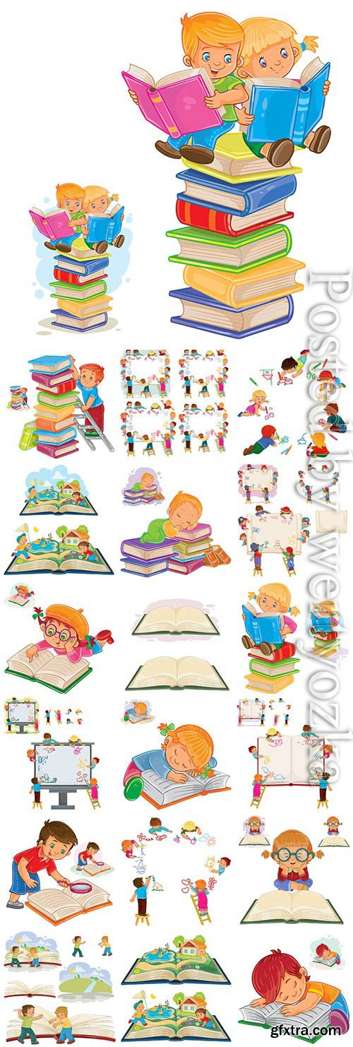 Boys and girls with books in vector