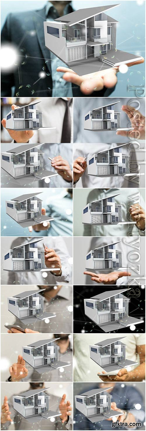 House mockup in male hands stock photo