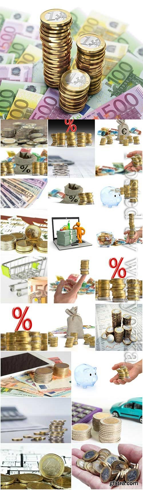 Coins and various banknotes stock photo