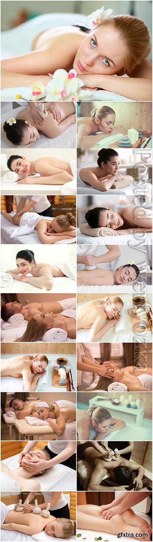 Massage for beautiful girls stock photo