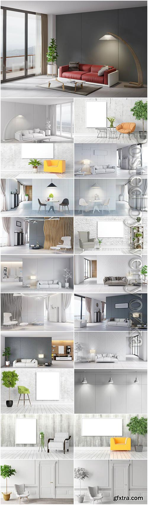 Modern interior in light colors stock photo
