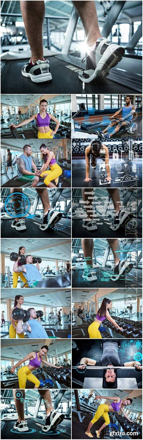 Exercise in the gym stock photo