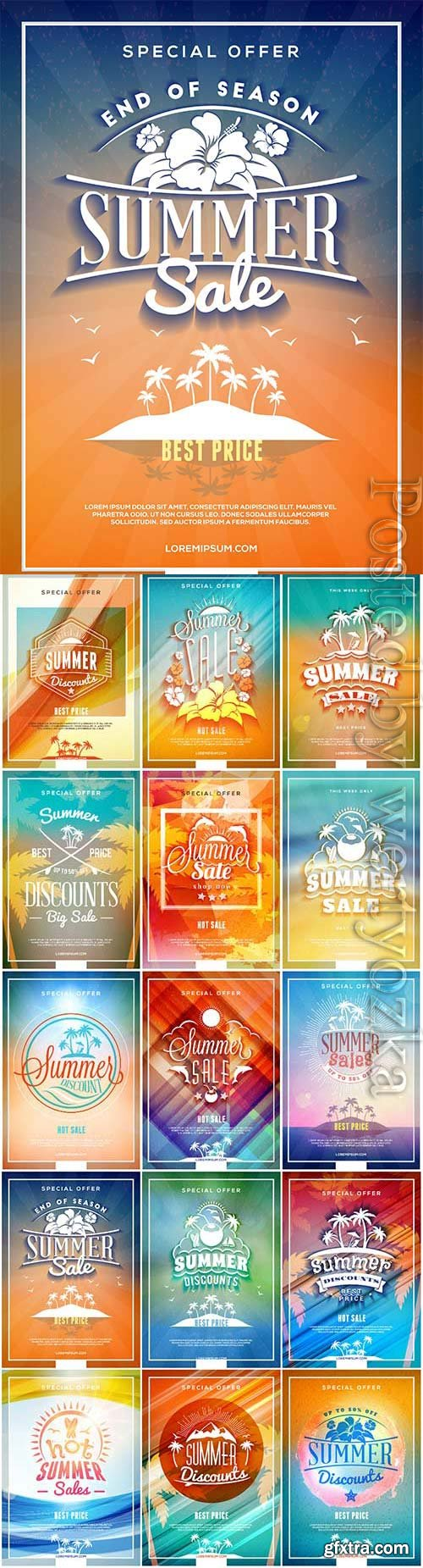 Summer backgrounds with text in vector