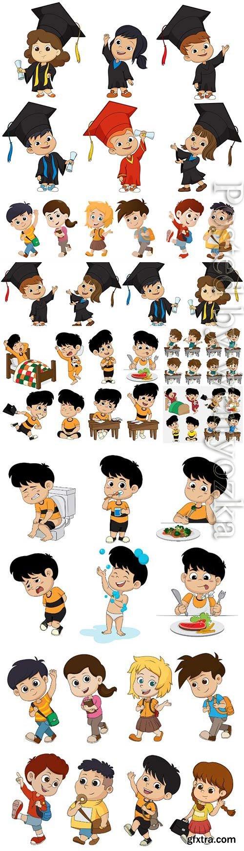 Funny cartoon kids in vector